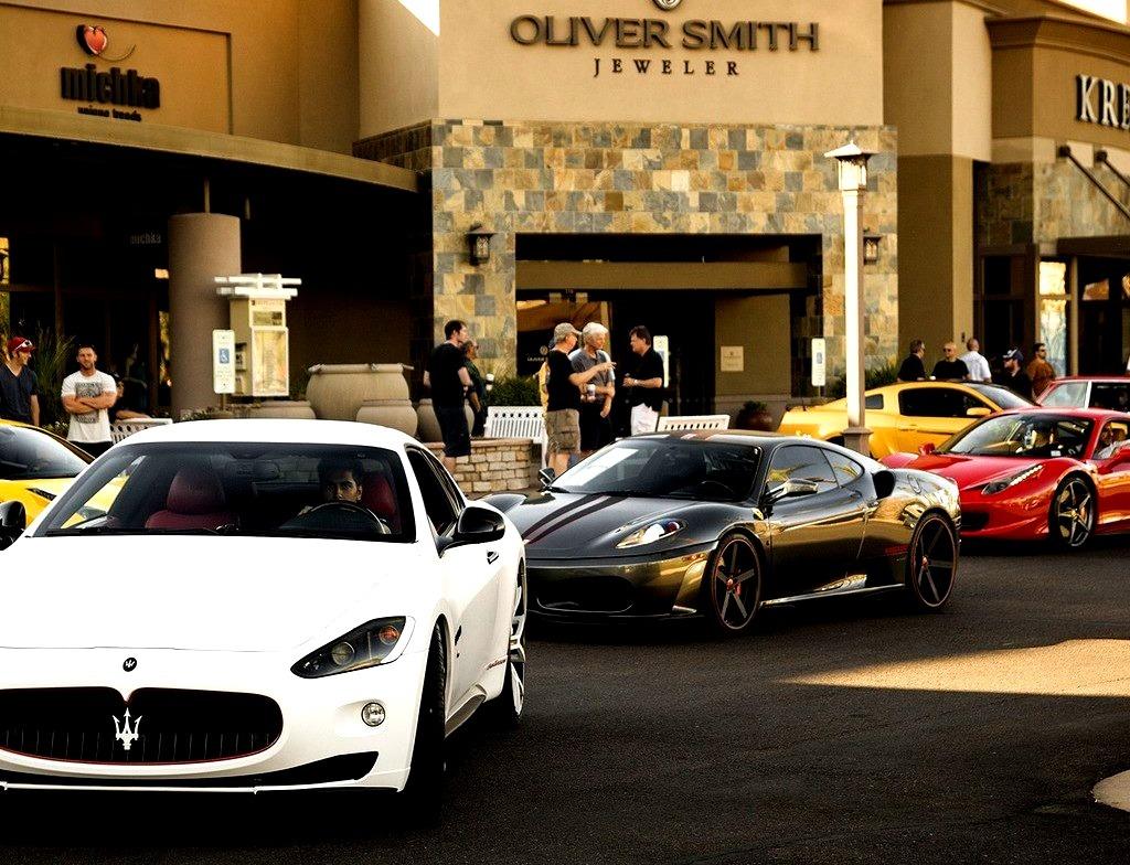 Maserati Gran Turismo, HAMANN Ferrari F430 and Ferrari 458 Italia rolling into Cars and Coffee in Scottsdale, Arizona this morning.